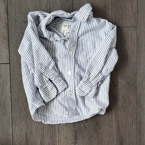 Blue and White Striped Long-Sleeved Button-Down